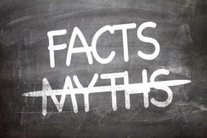 Facts Myths written on a chalkboard