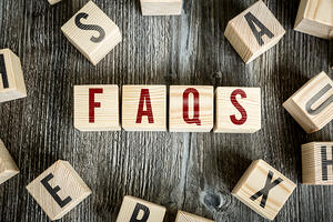 Wooden Blocks with the text Faqs-1
