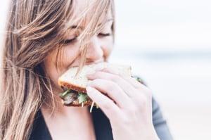 eating sandwich girl